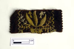 Brown velvet scrap found at Hyde Park Barracks, artefact number UF978