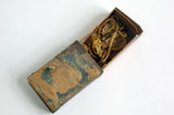 Wooden matchbox found at Hyde Park Barracks, artefact number UF17966
