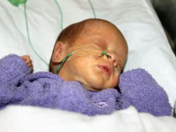A preterm baby having a snooze at Bendigo Health's Special Care Baby Unit, Bendigo Hospital Campus,
