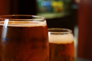two glasses of beer, close up