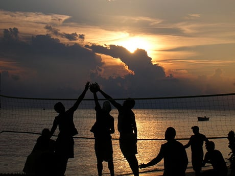 Sunset Volleyball in Fiji - image credit Tim Johnson