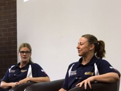 Chelsea Aubry and Kristi Harrower speak to staff and students about their season, training regimes and how the game has changed over the years.