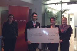 LTU Law Team accepting their Grand Finalists Cheque (from left to right : Patrick Dacaya, Alana Thompson and Jessica Connolly)