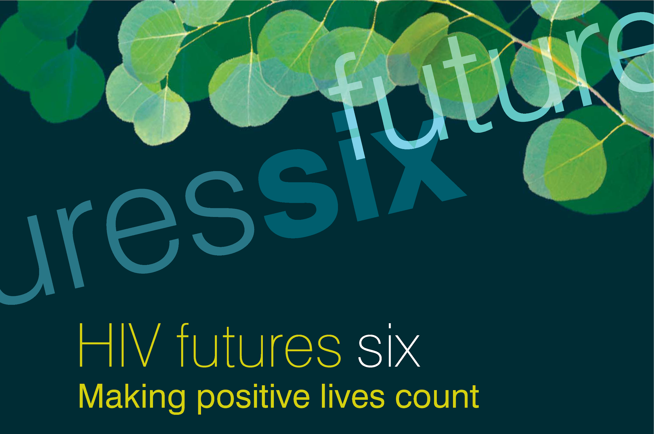 HIV Futures 7 logo with gum leaf design and text 'HIV futures six Making positive lives count