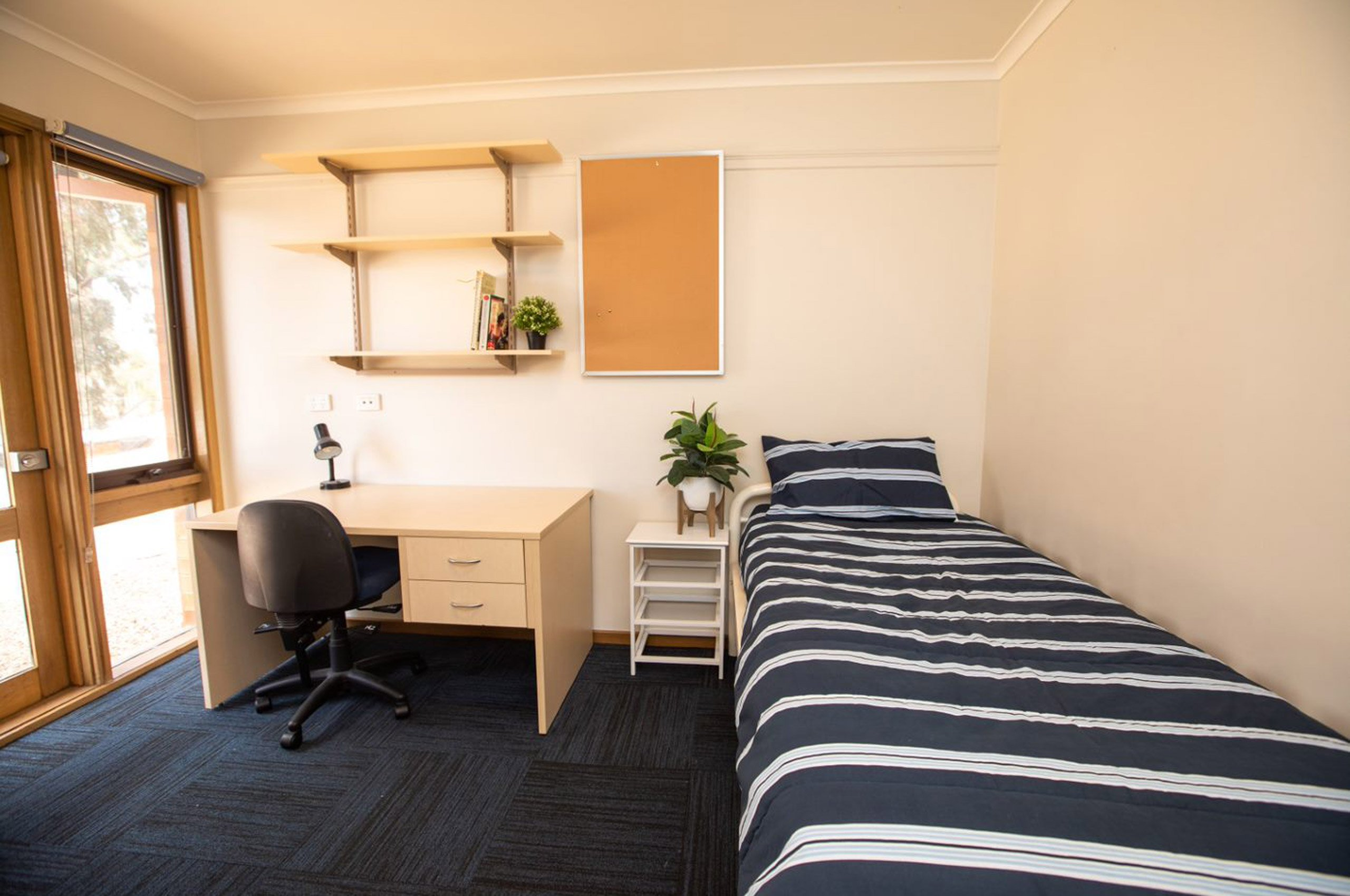 Single bedroom with desk and chair.