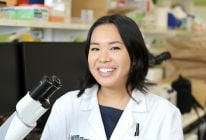 "PhD candidate Charlene Magtoto is exploring how a particular gene governs cell shape. ""When cells lose their shape, tissues can become disorganised and can lead to cancer,"" said Charlene. ""If we identify what pushes cells into disease, we can find ways to prevent that from ever happening. It's a very novel project, which I like."""