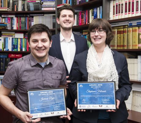 Prize-winning La Trobe Law students after the 2015 Asia-Pacific Model United Nations Conference.