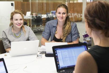 Students preparing for the Vis International Moot at La Trobe University Library.