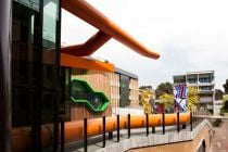 The sculptures were created to complement the architecture of the new La Trobe Institute of Molecular Science building.