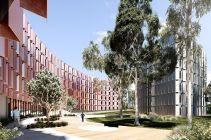 Concept art for external building features. [Architect: Jackson Clement Burrows.]