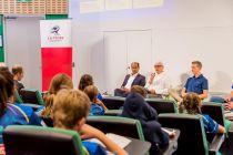 (L-R) Panellists Ravi Murty, Head of Sales, Asia Pacific, Rail at Cyient Australia; Simon O'Mallon, La Trobe University; Andy Buchanan, 2017 Australian 1500m and Cross Country Champion.