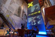 Rewa 4: Now/NEXT Performance Space at the Crossroads. Architecture Section Exhibition: 2011 Prague Quadrennial. Sited in St Anne's Church (Prague Crossroads); designed by Dorita Hannah. Photo: Nick Kapica.