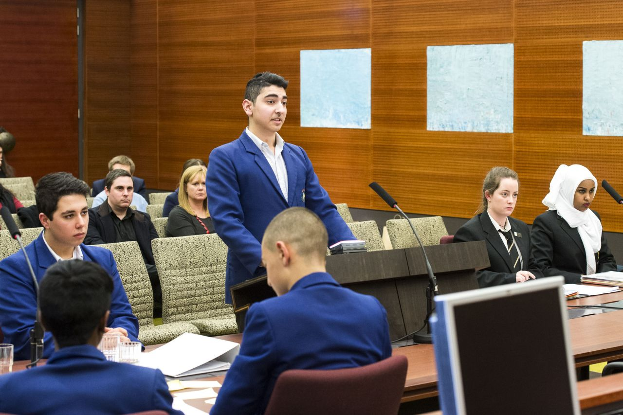 The High School Mooting Competition Finals taking place at the Federal Court in Melbourne.