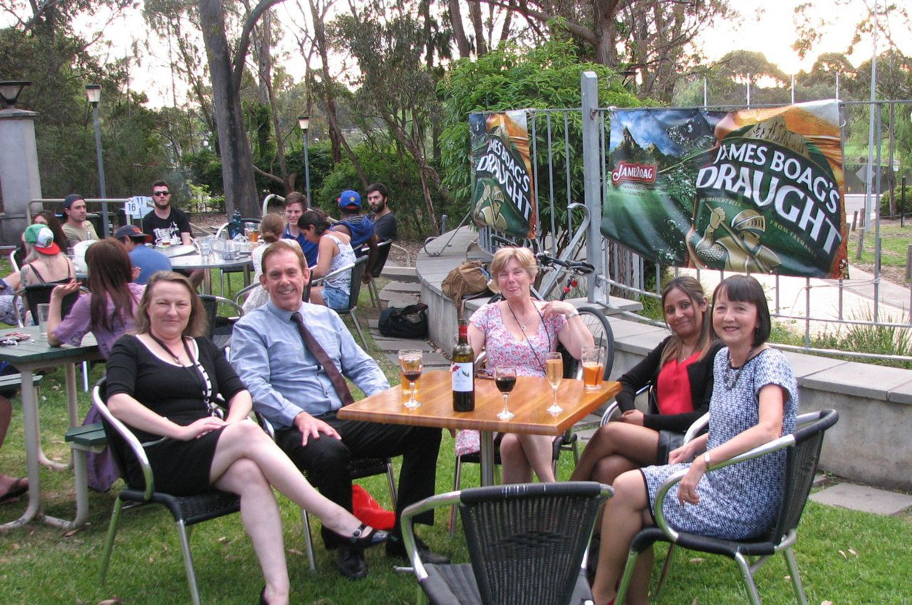 L to R: Karen O'Reilly-Briggs, Dr Mike Brown, Margaret Robertson, Fazeela Ibrahim and Pam Delly in the Eagle bar garden La Trobe University Bundoora on 15th October 2015 awaiting the LTSU award night.