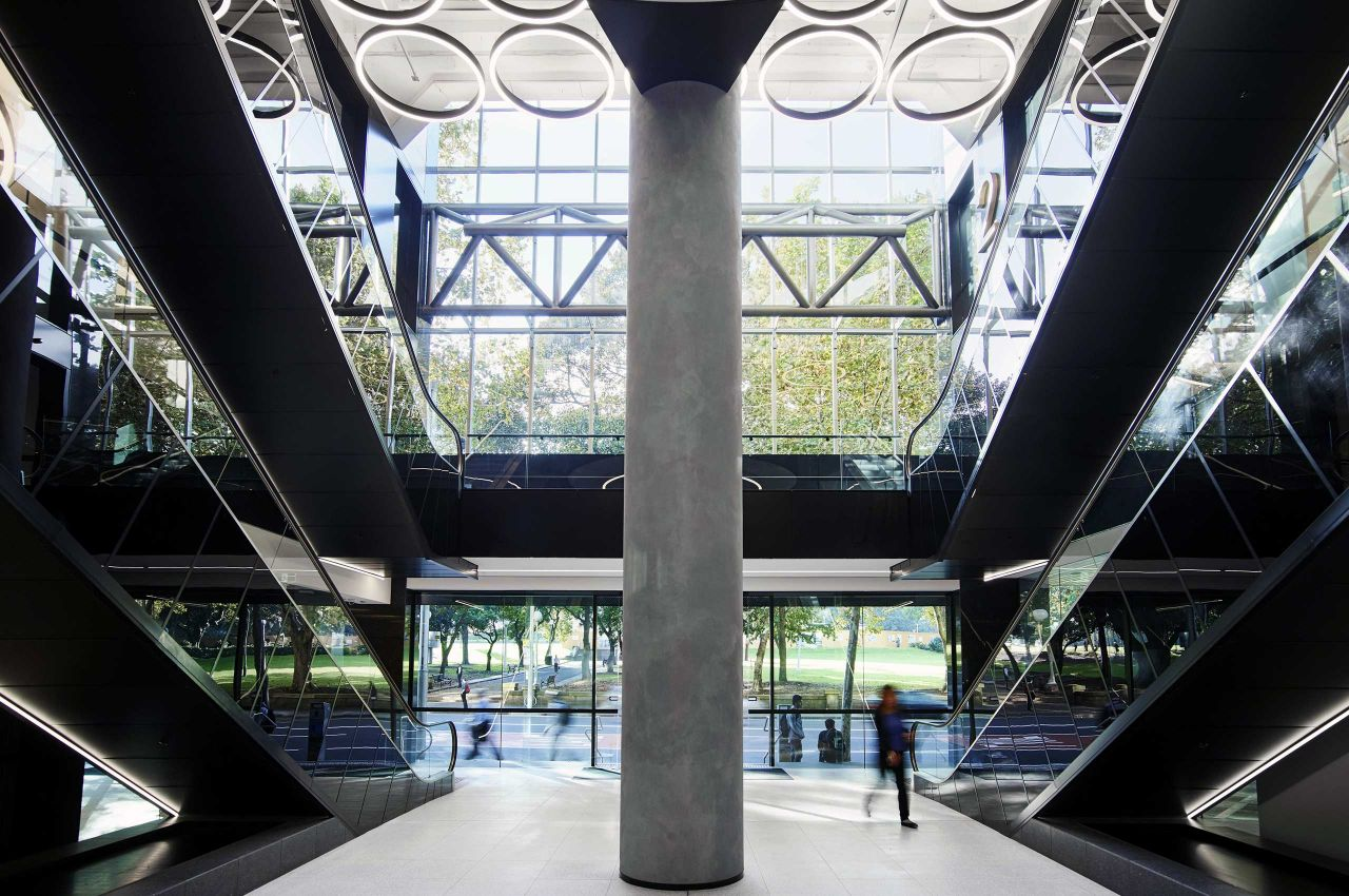 The atrium of the new Sydney Campus, directly opposite Hyde Park