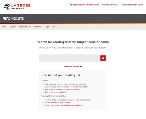 Screenshot of Reading lists webpage