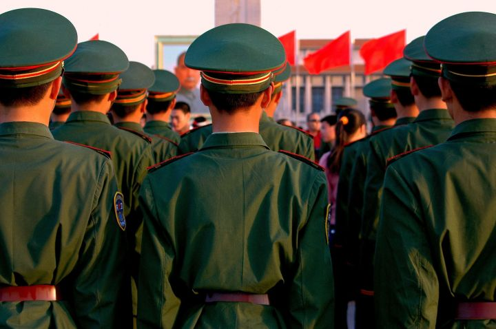 Chinese soldiers in formation