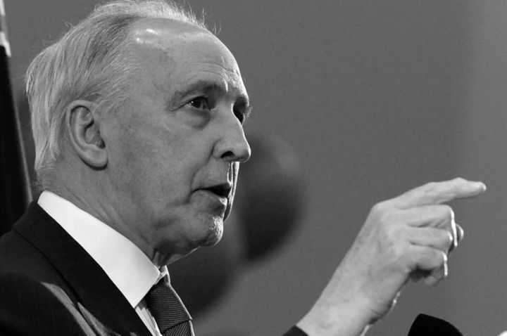 Black and white photo of Paul Keating pointing